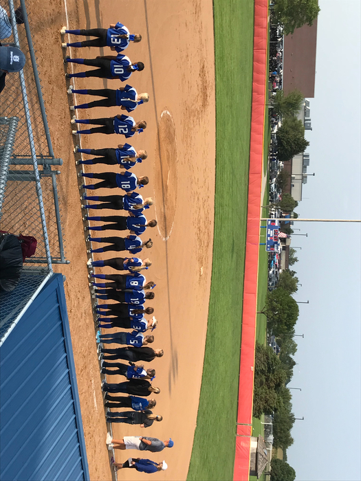 The Broncos lined up & ready to battle Crete.  Let's go ladies! #broncoblue