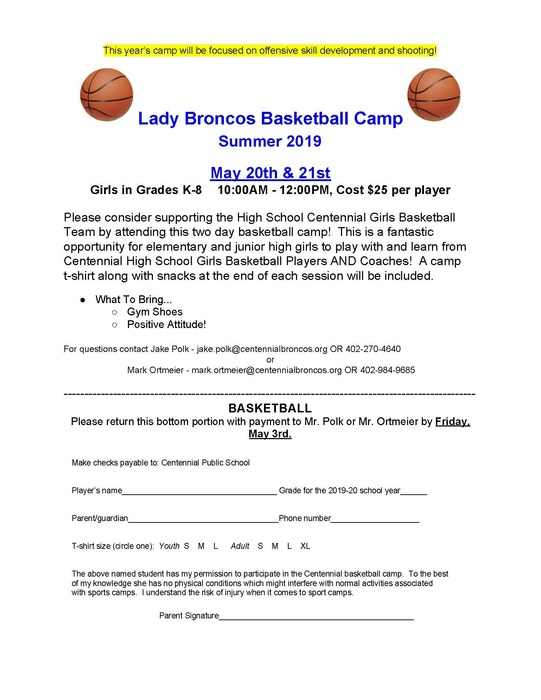 Girls Basketball 2019 Summer Camp