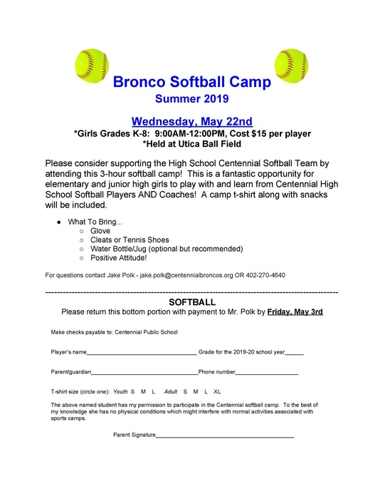 Softball 2019 Summer Camp